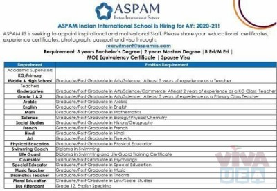 ASPAM Indian International School is Hiring for AY 2020-21