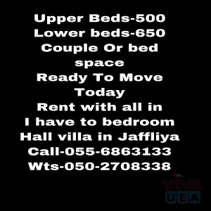 BED SPACE COUPLE SHARING ACCOMMODATION ROOMS FOR RENT DUBAI JAFFILYA