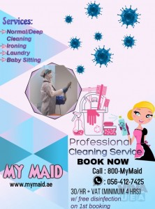 PROFESSIONAL AND AFFORDABLE CLEANING SERVICE WITH FREE DISINFECTION Whatsapp +971 56 412 7425