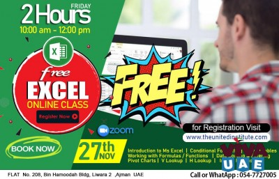 Excel free class on 27th Nov 2 hours - 547727005 | 065464400
